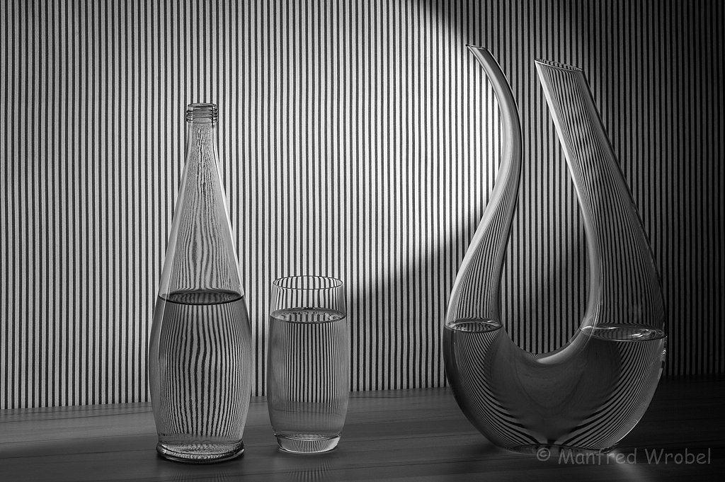 water, glas and stripes